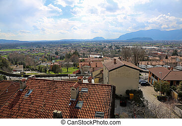 Panorama of city called GEMONA DEL FRIULI in Italy -...