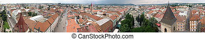 Panorama of city center in Kosice, Slovakia. Kosice is a city in eastern Slovakia with a population of approximately 240,000.