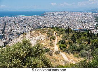 City of Athens to Piraeus port taken from the summit of Filopappou Hill