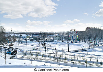 Panorama of city Saransk in winter