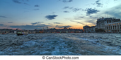 Panorama of Cityscape of Golden horn with ancient street and...