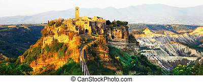 panorama of Civita di Bagnoregio - ghost medieval town,...