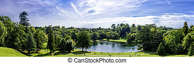 Panorama of Claremont lake in Esher, Surrey, United Kingdom