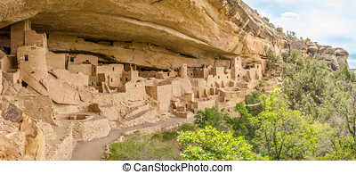 Panorama of Cliff Palace - Mesa Verde - Panorama View at the...