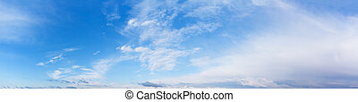 Panorama of cloudy blue day sky