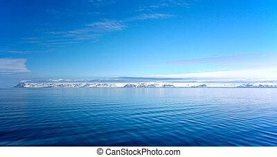 panorama of coast in Spitzbergen from Arctic ocean