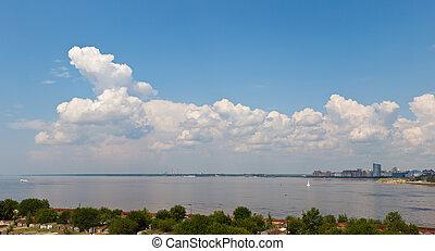 gulf of Finland in Sankt-Peterburg - Panorama of coast of ...