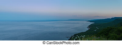 Panorama of Coastal Scene on the Cabot Trail at dusk