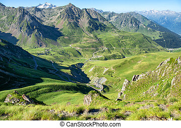 panorama of Col du Tourmalet in pyrenees mountains