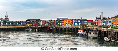 Crab fisher hutches - panorama of colored Crab fisher ...