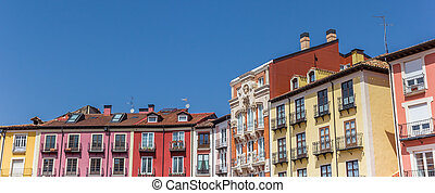 Panorama of colorful houses at the Plaza Mayor square in Burgos