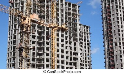 panorama of construction of few tall buildings