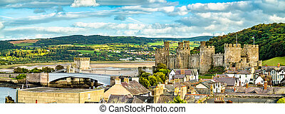 Panorama of Conwy with Conwy Castle in Wales, United Kingdom