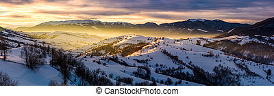 panorama of countryside at sunrise in winter - gorgeous...