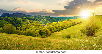 countryside in mountain at sunset