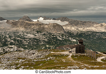 Panorama of Dachstein with glacier on a cloudy morning