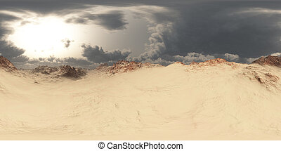 panorama of desert at sand storm. made with the one 360 degree lense camera without any seams. ready for virtual reality