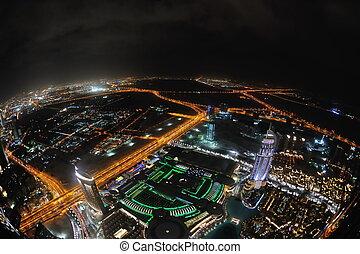 Panorama of down town Dubai city at night - Panorama of down...