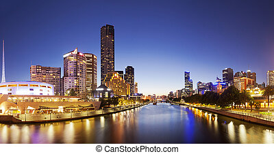 Panorama of downtown Melbourne at night, produced by...