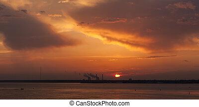panorama of dramatic sunset