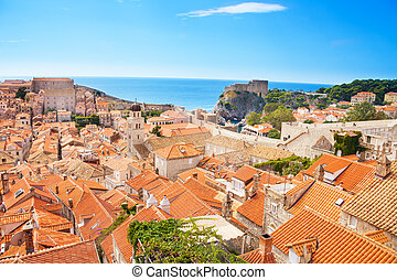 Panorama of Dubrovnik city and walls