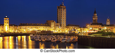 Panorama of Dunkirk at night. Dunkirk, Hauts-de-France, France.
