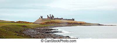 Panorama of Dunstanburgh castle with green meadow grass...