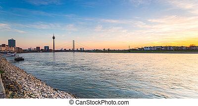 Panorama of Dusseldorf at sunset