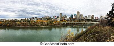 Panorama of Edmonton, Alberta, Canada with colorful aspen in autumn