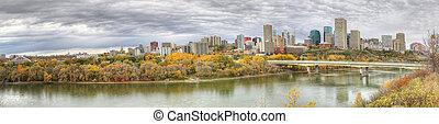 Panorama of Edmonton, Alberta, Canada with colorful aspen in fall