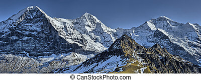 Panorama of Eiger, Monch and Jungfrau from Mannlichen.