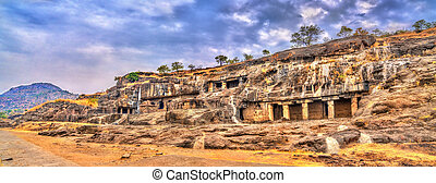 Panorama of Ellora caves 20-24. UNESCO world heritage site...