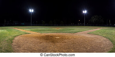 Panorama of empty baseball field - Panorama night photo of...