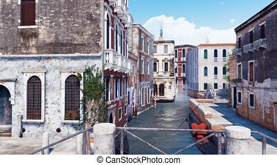Panorama of empty street in Venice, Italy - Panorama of...