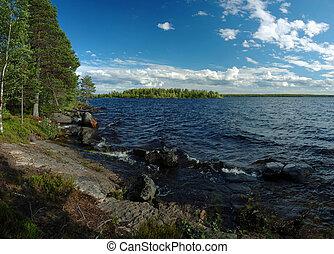Panorama of Engozero lake in Karelia republic, Nothern Russia