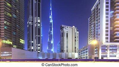 Panorama of Evening Dubai. Time Lapse.