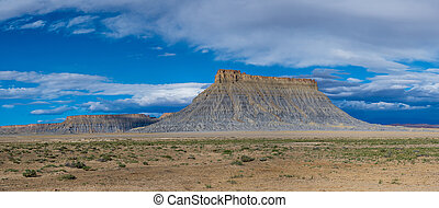 Panorama of factory butte on a cloudy morning