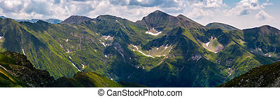 panorama of Fagaras mountain ridge. beautiful landscape with...