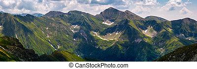 panorama of Fagaras mountain ridge. beautiful landscape with...