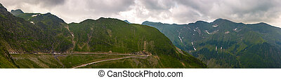 panorama of Fagaras mountains on a cloudy day. beautiful...