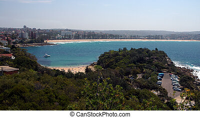 Manly beach - panorama of famous Manly beach in Sydney, hot ...