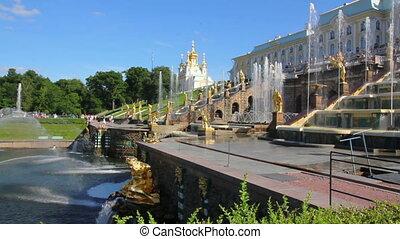 panorama of famous petergof Samson fountain in St. Petersburg Russia
