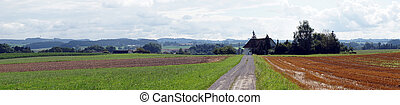 Panorama of farm fields in Germany