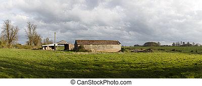 Panorama of farm in English countryside