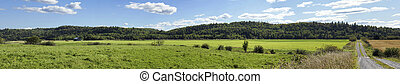 Panorama of fields in rural Canada