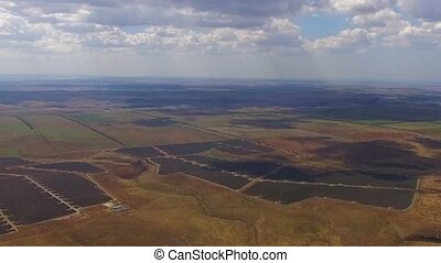 panorama of fields of separated fields. bird's eye view. -...