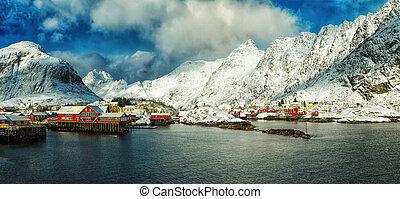 Panorama of fisherman village called A Lofoten on Lofoten Islands at dawn, Norway.