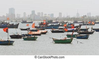 Panorama of fishing boats in the city of Da Nang Vietnam.
