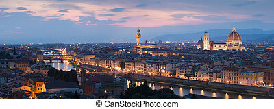 Panorama of Florence and river Arno after sunset, Tuscany, ...
