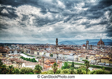 Florence on a cloudy day in hdr